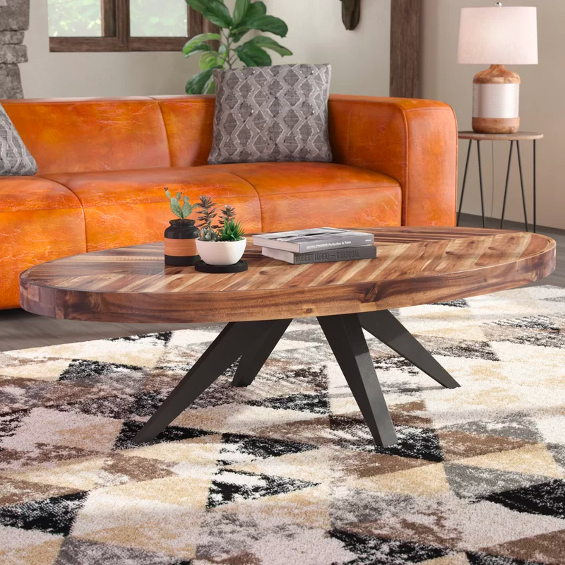 Rustic-Oval-Coffee-Table-Oblong-Wood-Top-Patterned-Chevrom-Multi-Toned