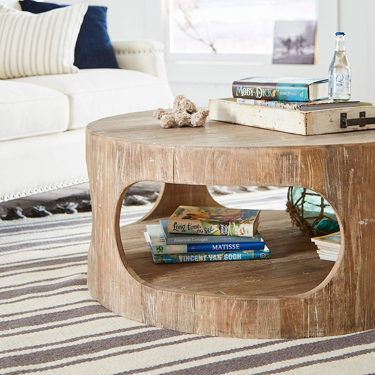 Rustic-Round-Distressed-Wood-Coffee-Table-With-Bottom-Shelf-Organic-Design-Earthy