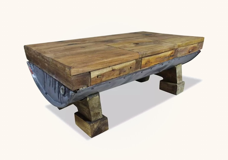 Rustic-Style-Wood-And-Galvanized-Iron-Coffee-Table-Unique-Iron-Barrel