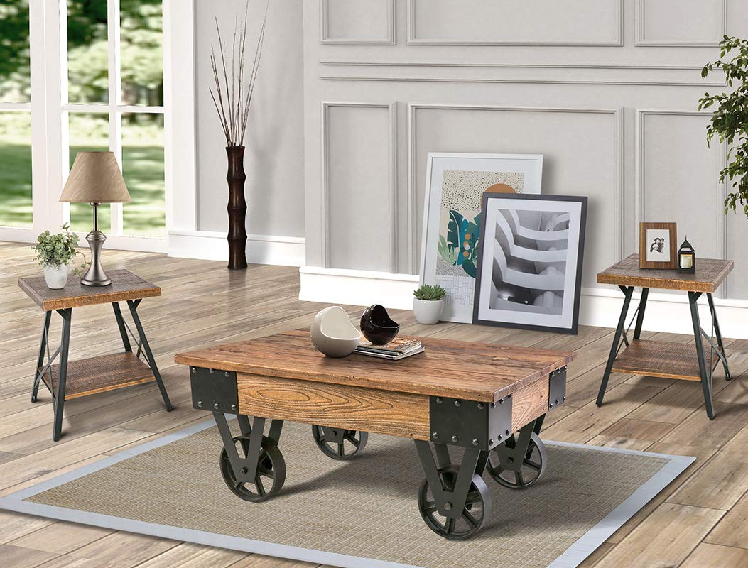 Rustic-Wooden-Coffee-Table-With-Wheels-Metal-Accents-Heavy-Wood-Grain-1