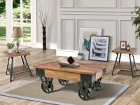Rustic-Wooden-Coffee-Table-With-Wheels-Metal-Accents-Heavy-Wood-Grain
