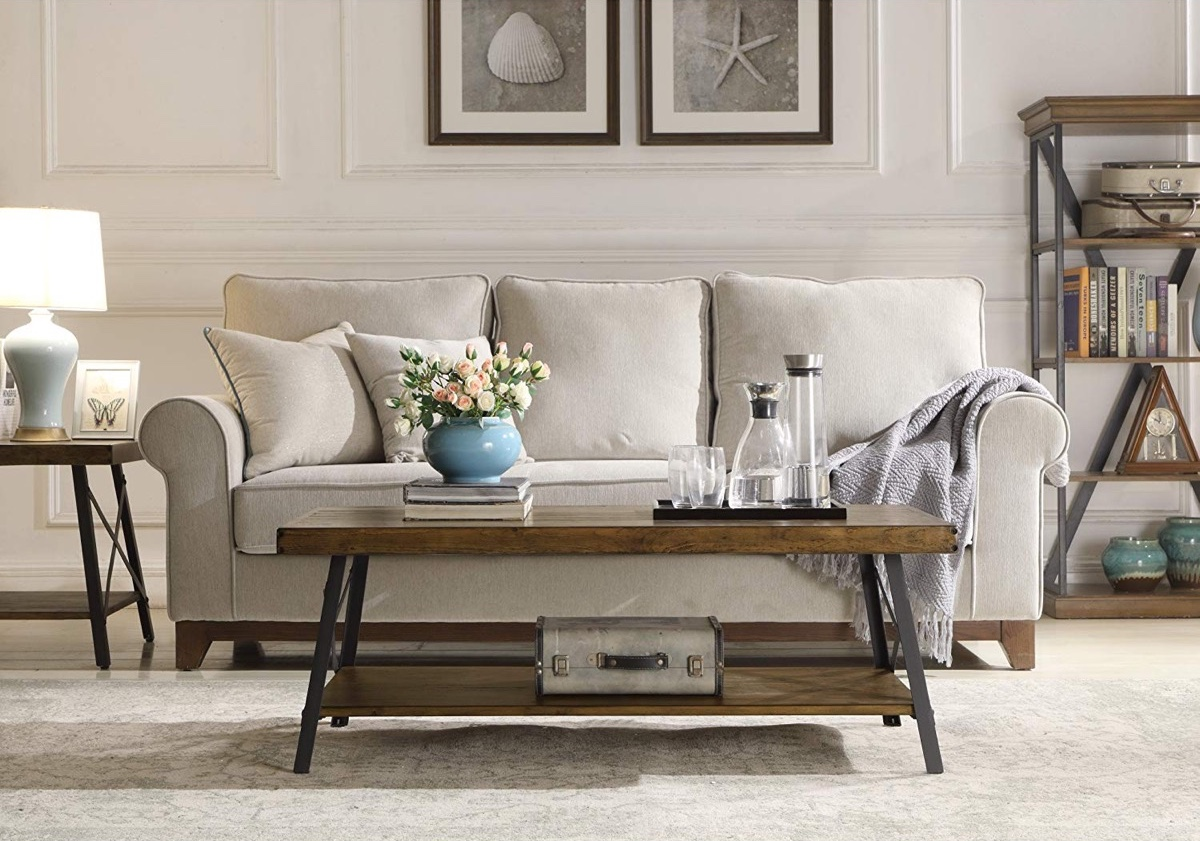 Rustic-X-Coffee-Table-Farmhouse-Style-Wood-And-Metal-Double-Tier