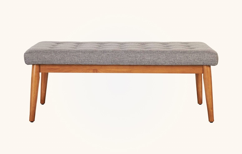 Small-Upholstered-Dining-Bench-With-Wood-Legs-And-Light-Grey-Upholstered-Seat-Tufted