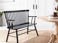 Spindle-Back-Dining-Bench-With-Back-and-Arms-Black-Wood-Glossy
