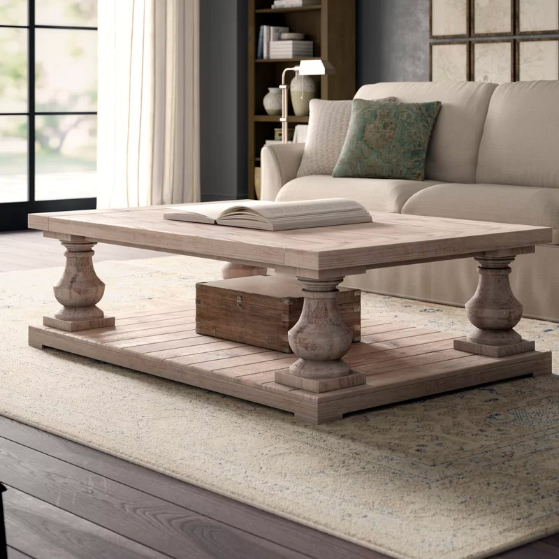 Square-Rustic-Country-Coffee-Table-Weathered-Wood-Finish-With-Bottom-Shelf-Planked-And-Pillar-Legs