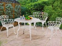 Victorian-Style-Outdoor-Dining-Bench-Ornate-White-Metal-With-Back