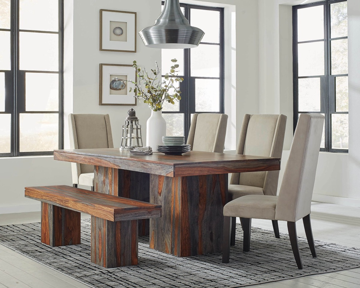 Wood-And-Grey-Patterned-Dining-Bench-With-Thick-Legs-Block-Style