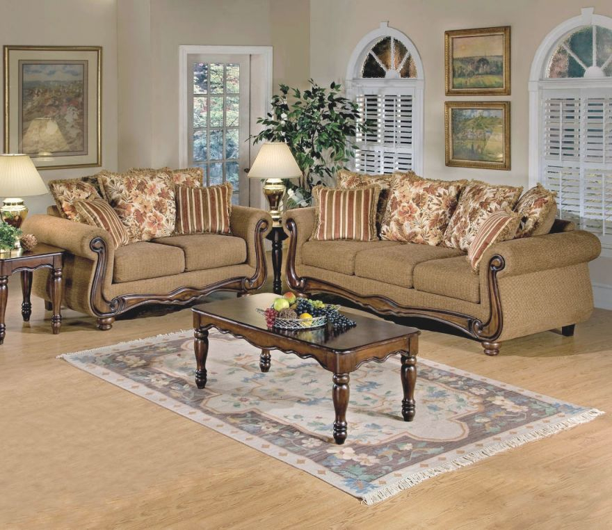 Acme Furniture Olysseus 2Pc Sofa Set In Brown Floral intended for Floral Living Room Furniture