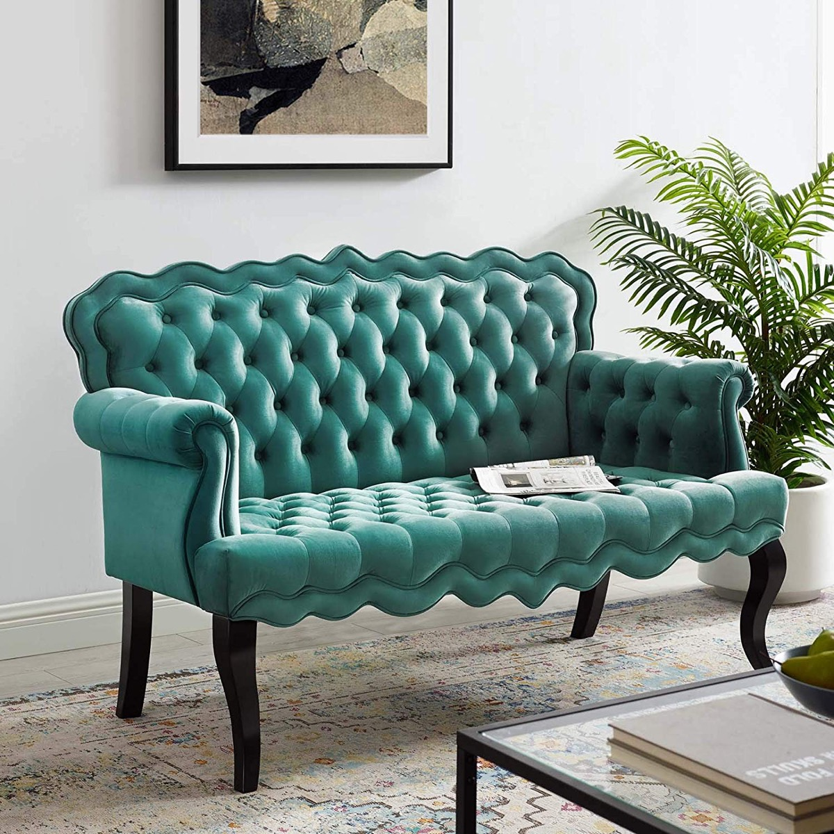 adorable-french-teal-tufted-sofa-with-scalloped-edges-cabriole-legs-and-velvet-upholstery