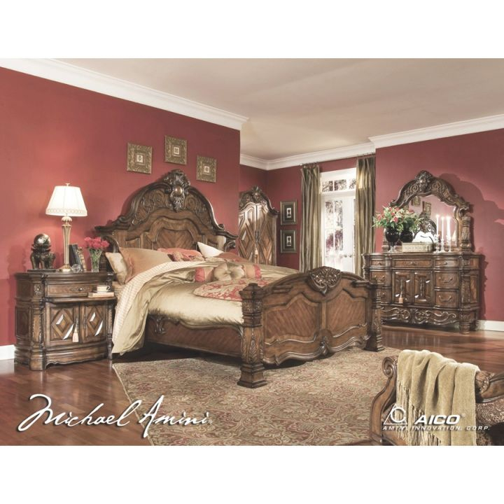 Aico 5Pc Windsor Court Queen Size Bedroom Set In Vintage Fruitwood Finish – Config1 intended for Luxury Bedroom Set Queen Size