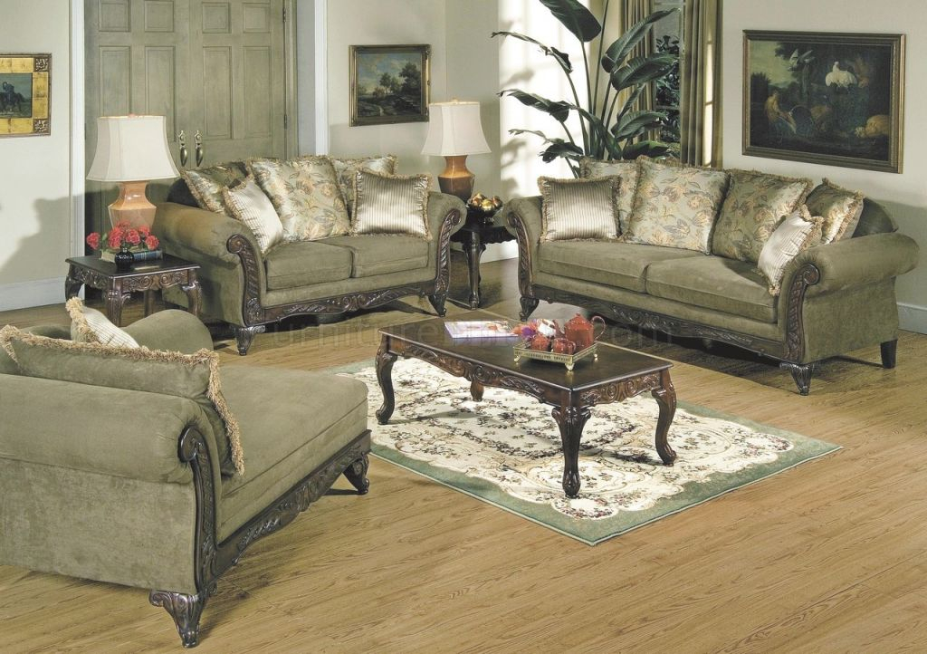 Alpine Microfiber Traditional Living Room Sofa W/wooden Accents with regard to Traditional Living Room Furniture