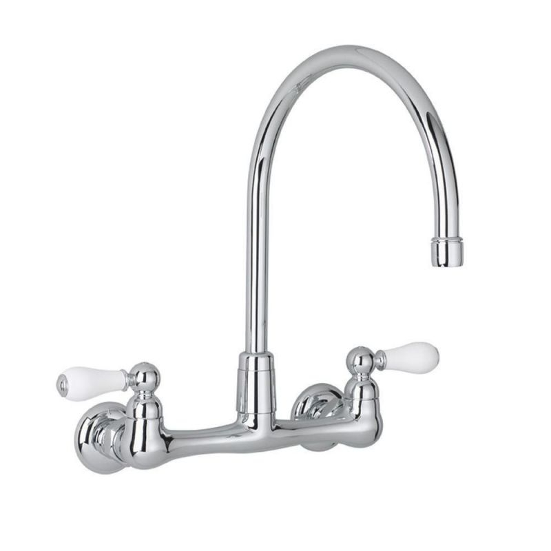 American Standard Heritage 2-Handle Wall-Mount Kitchen Faucet In Polished Chrome With Gooseneck Spout regarding Wall Mount Kitchen Faucet