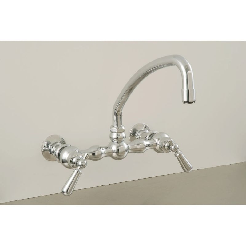 American Wall Mount Curved Spout Faucet With Metal Lever Handles regarding New Wall Mount Kitchen Faucet