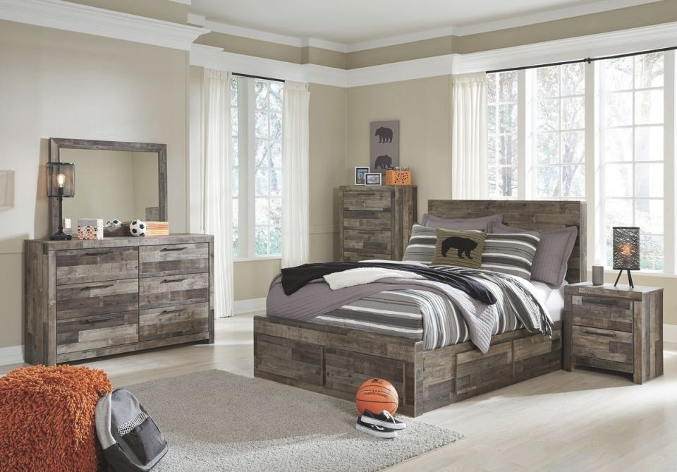 Ashley Furniture Derekson Storage Bedroom Set With Under Bed Storage In Multi Grey inside Awesome Bedroom Set Grey