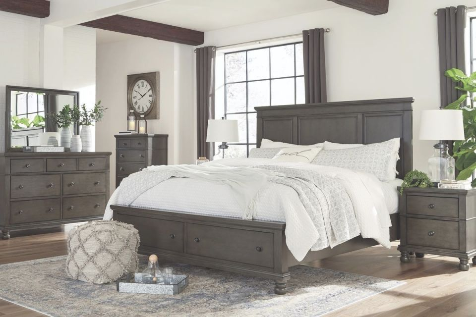 Ashley Furniture Devensted Storage Bedroom Set In Dark Grey with Awesome Bedroom Set Grey