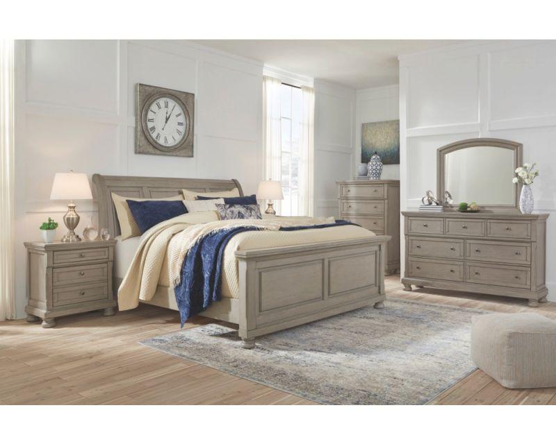 Ashley Furniture Lettner Sleigh Bedroom Set In Light Grey for Awesome Bedroom Set Grey