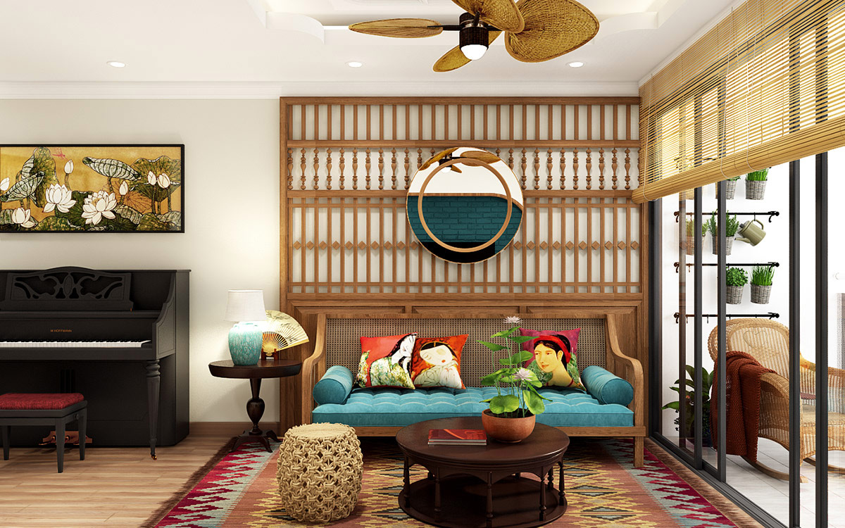Asian Style Interiors Spliced With Sumptuous Deep Green And