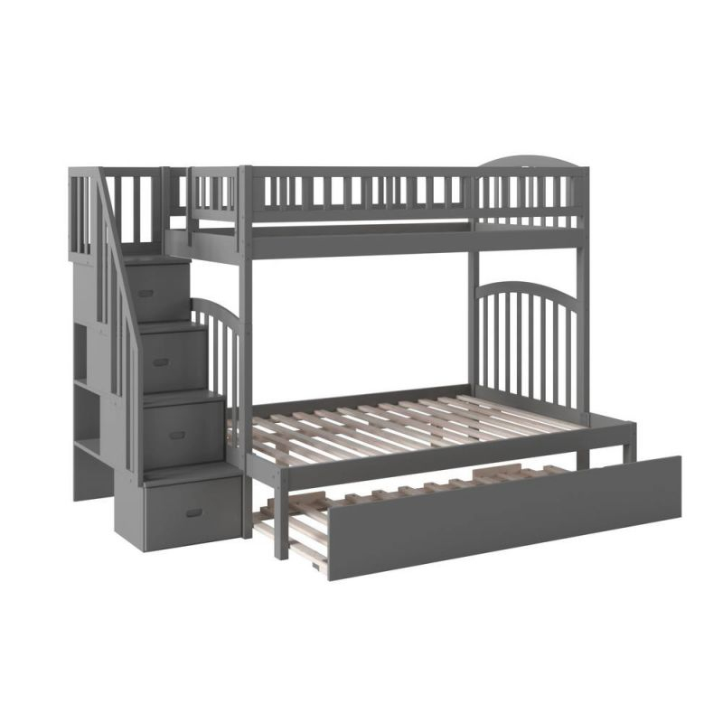 Atlantic Furniture Westbrook Grey Twin Over Full Staircase with Awesome Full Size Bed With Trundle Bedroom Set