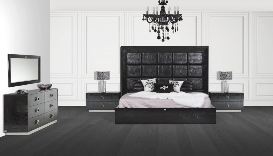 A&x Victoria Modern Black Crocodile Queen Bedroom Set #vgunvictoria with regard to Bedroom Set Modern