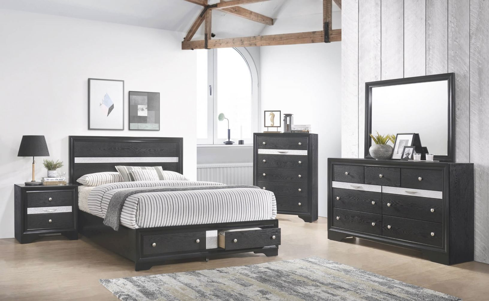 B4670 Regata Black Storage Bedroom Set regarding Bedroom Set Queen Size