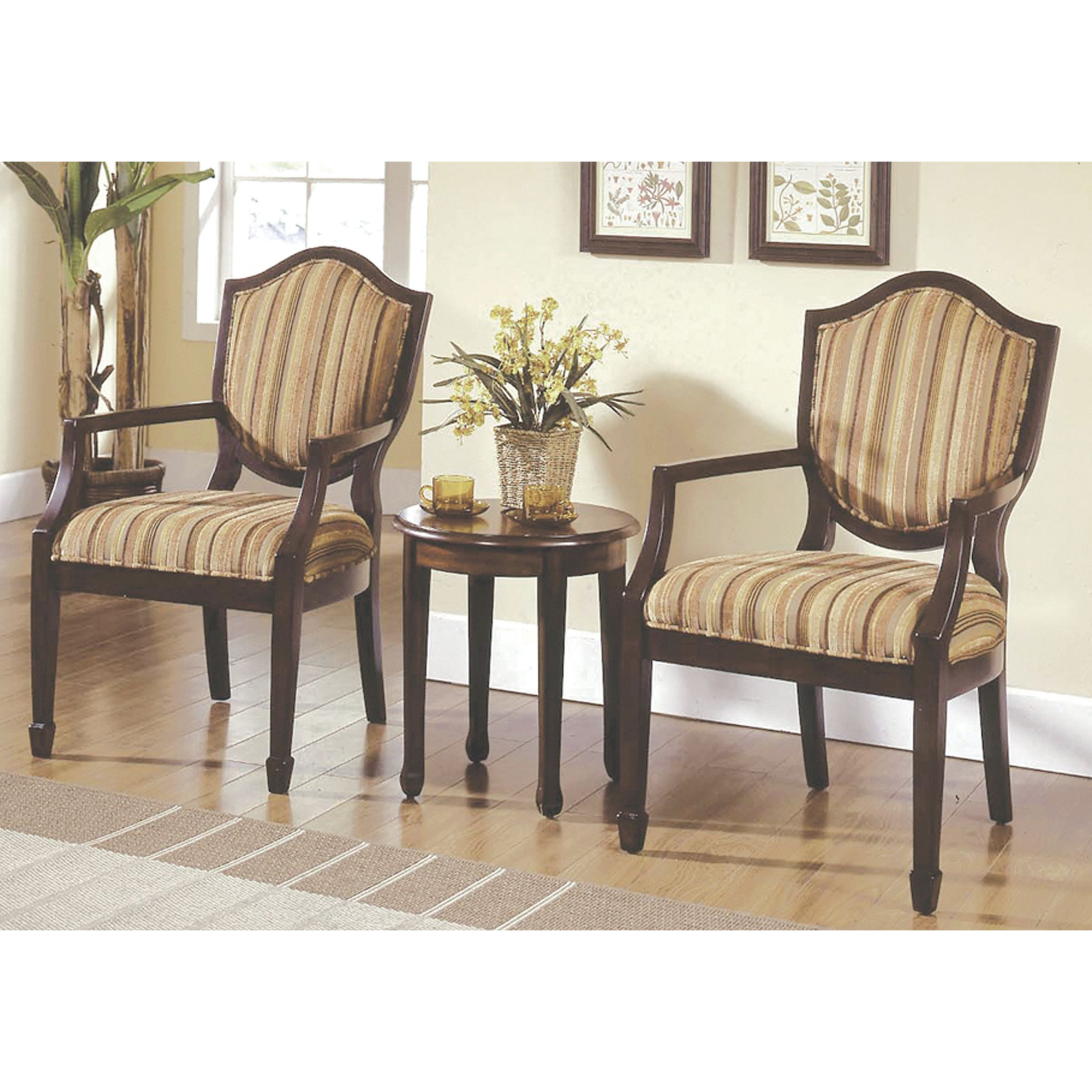 Best Master Furniture's Brandi 3-Piece Traditional Living Room Accent Chair And Table Set intended for Traditional Living Room Furniture