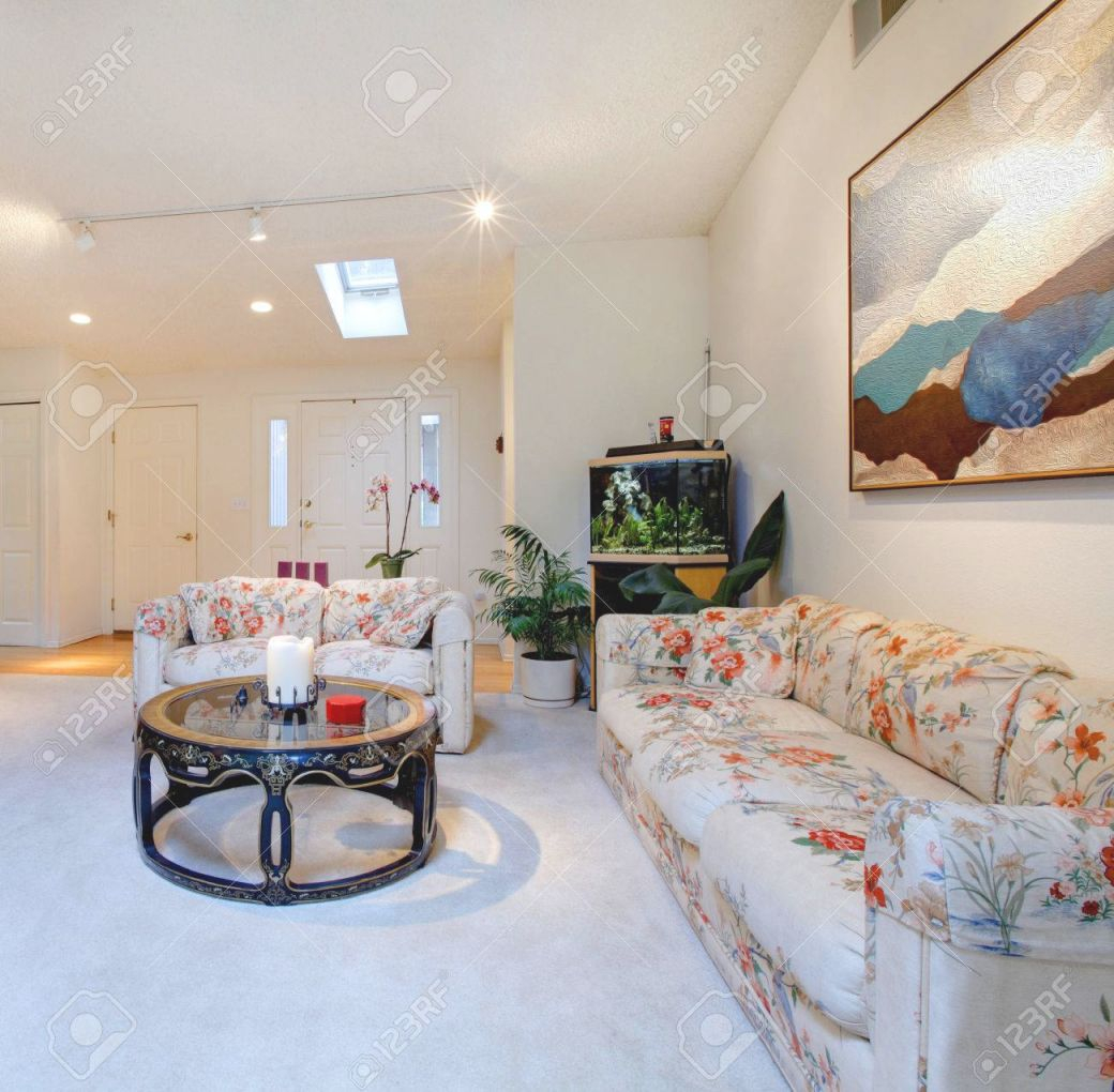 Big Modern Living Room With Fireplace And Floral Sofa And Chair in New Floral Living Room Furniture
