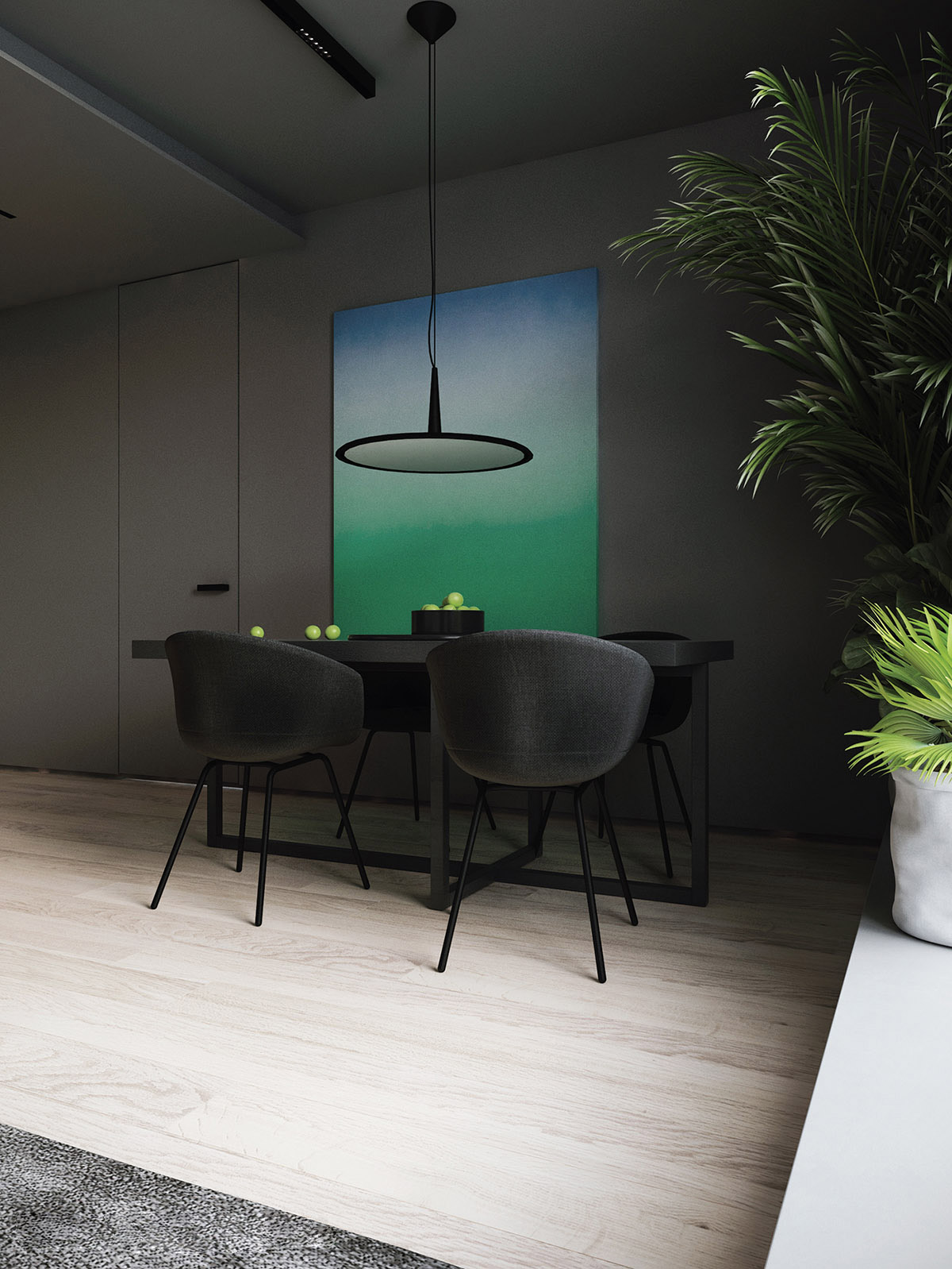 black-and-grey-dining-room