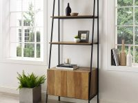 black-and-wood-ladder-storage-shelf-with-large-lower-cabinet