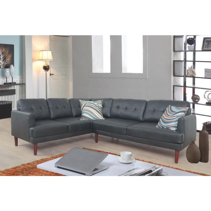Black Faux Single Line Tufted Leather Sectional Sofa Set (2-Piece) regarding Tufted Living Room Furniture