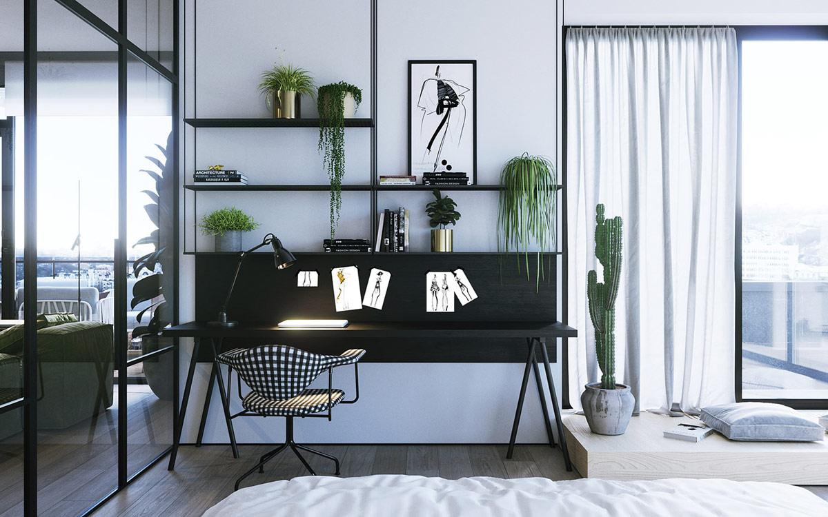 black-modern-home-office-desk