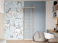 blue-kids-bedroom-with-jungle-gym-and-workspace