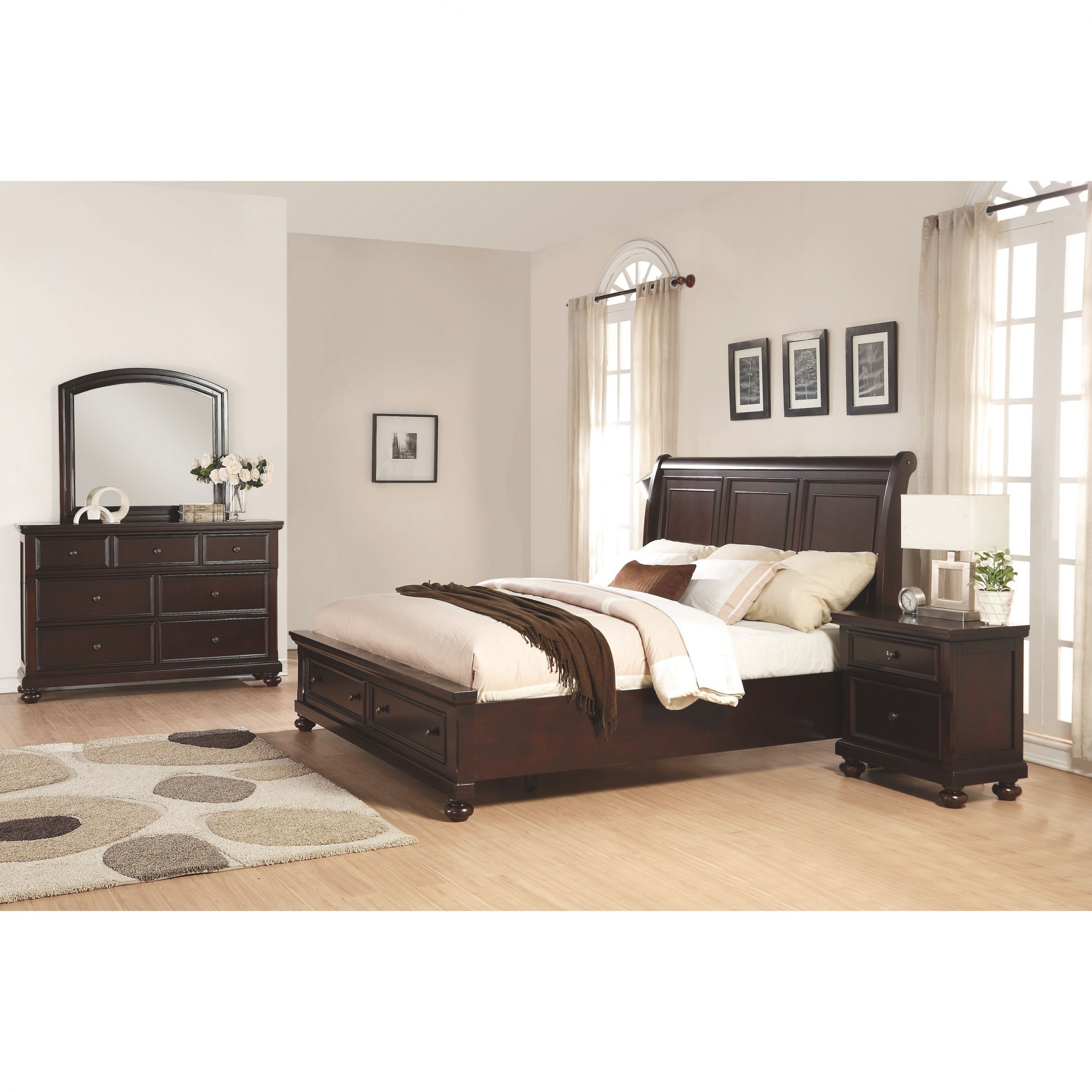 Brishland Rustic Cherry Storage 4-Piece Queen Size Bedroom Set throughout Luxury Bedroom Set Queen Size