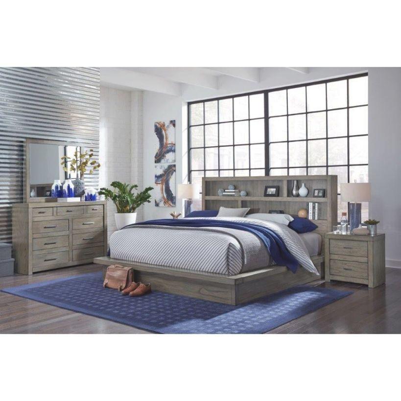 Brownstone Gray 4 Piece Queen Bedroom Set – Modern Loft within Bedroom Set Queen