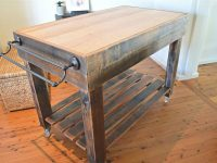 Butchers Block Style Island Bench / Rustic / On Castor with regard to Elegant Butcher Block Kitchen Island
