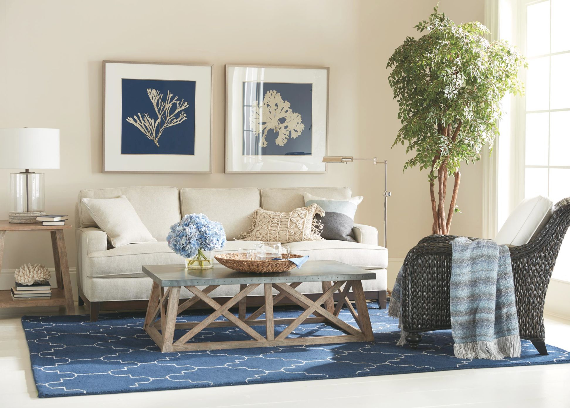 Casual Coastal Living Room | Ethan Allen with Coastal Living Room Furniture