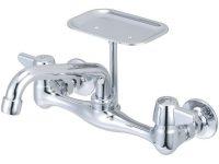 Central Brass Wall-Mount 2-Handle Standard Kitchen Faucet In Chrome with Wall Mount Kitchen Faucet