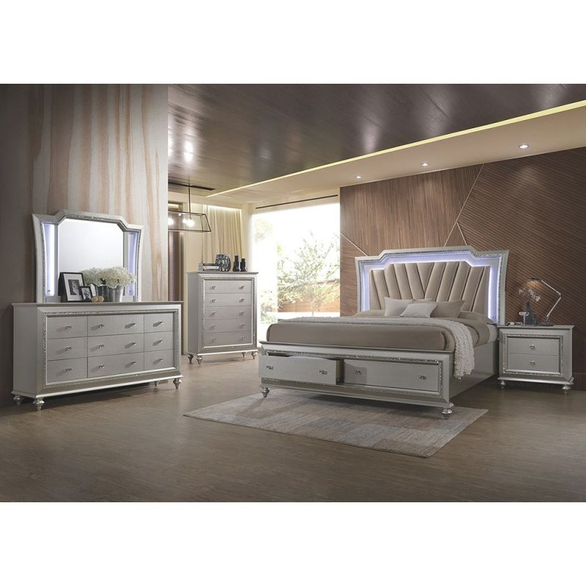 Champagne Platinum 4 Piece Queen Bedroom Set – Kaitlyn within Beautiful Bedroom Set Queen