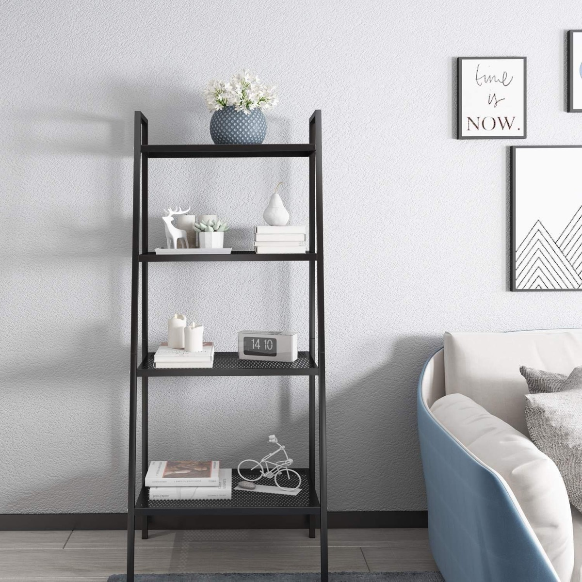 cheap-and-stylish-black-metal-ladder-shelf-perforated-shelves