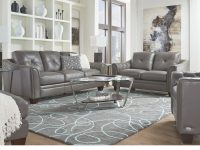 Cindy Crawford Home Marcella Gray Leather 3 Pc Living Room in Furniture Stores Living Room Sets
