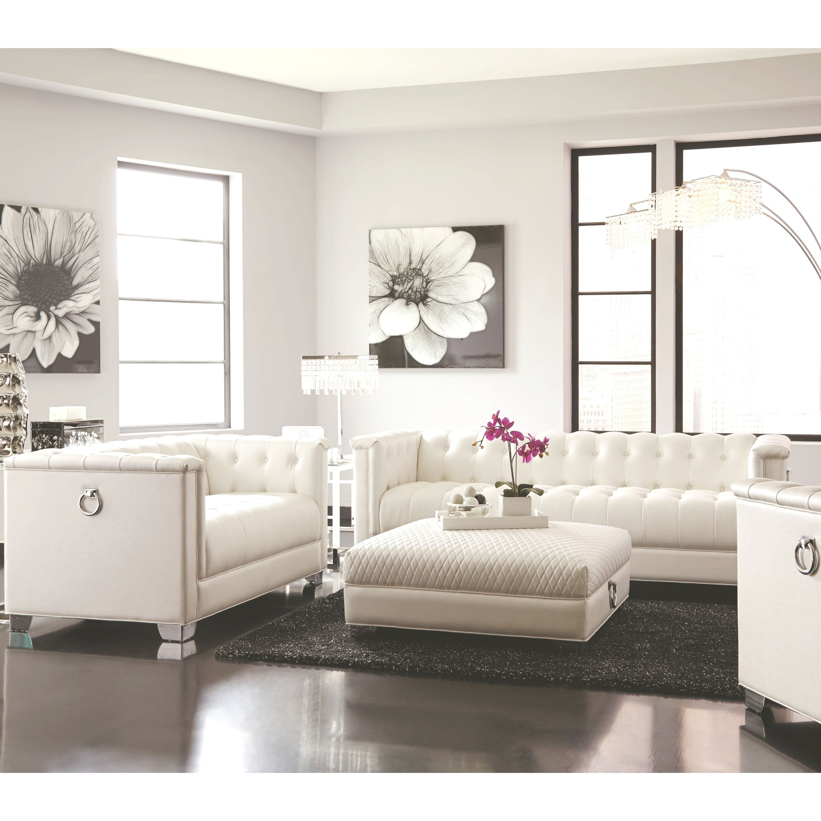 Classic Mid-Century Button Tufted Design Living Room Sofa Collection With Chrome Doorknocker Handles inside Tufted Living Room Furniture