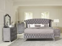 Coaster Furniture Deanna 4-Piece Upholstered Platform Bedroom Set In Grey regarding Bedroom Set Grey