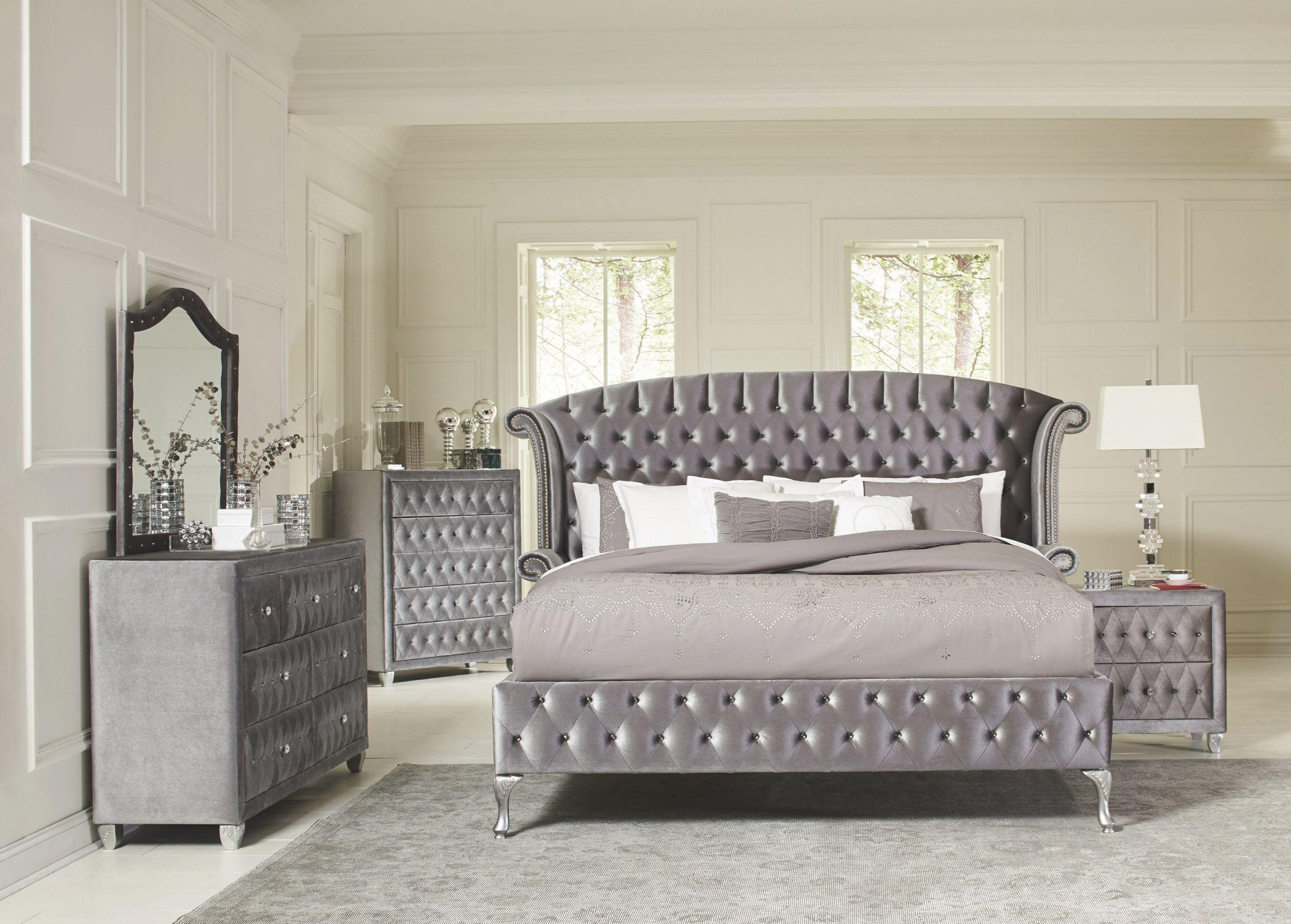 Coaster Furniture Deanna 4-Piece Upholstered Platform Bedroom Set In Grey regarding Bedroom Set Grey