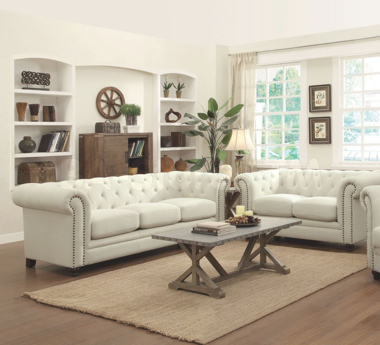 Coaster Roy 2Pc Oatmeal Sofa & Loveseat Set with Tufted Living Room Furniture