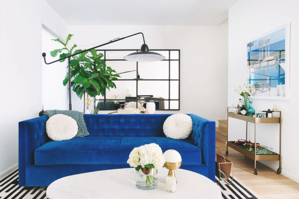 Cool Down Your Design With Blue Velvet Furniture | Hgtv's inside Luxury Blue Couch Living Room Ideas