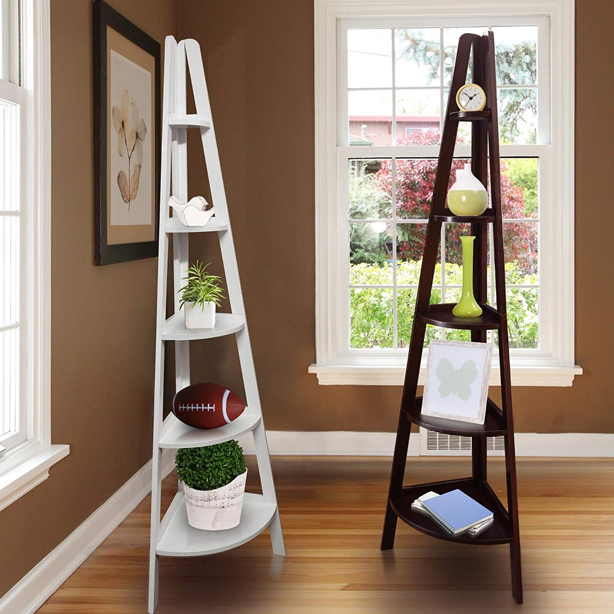 corner-ladder-shelf-design-five-tier-in-white-or-espresso-wood