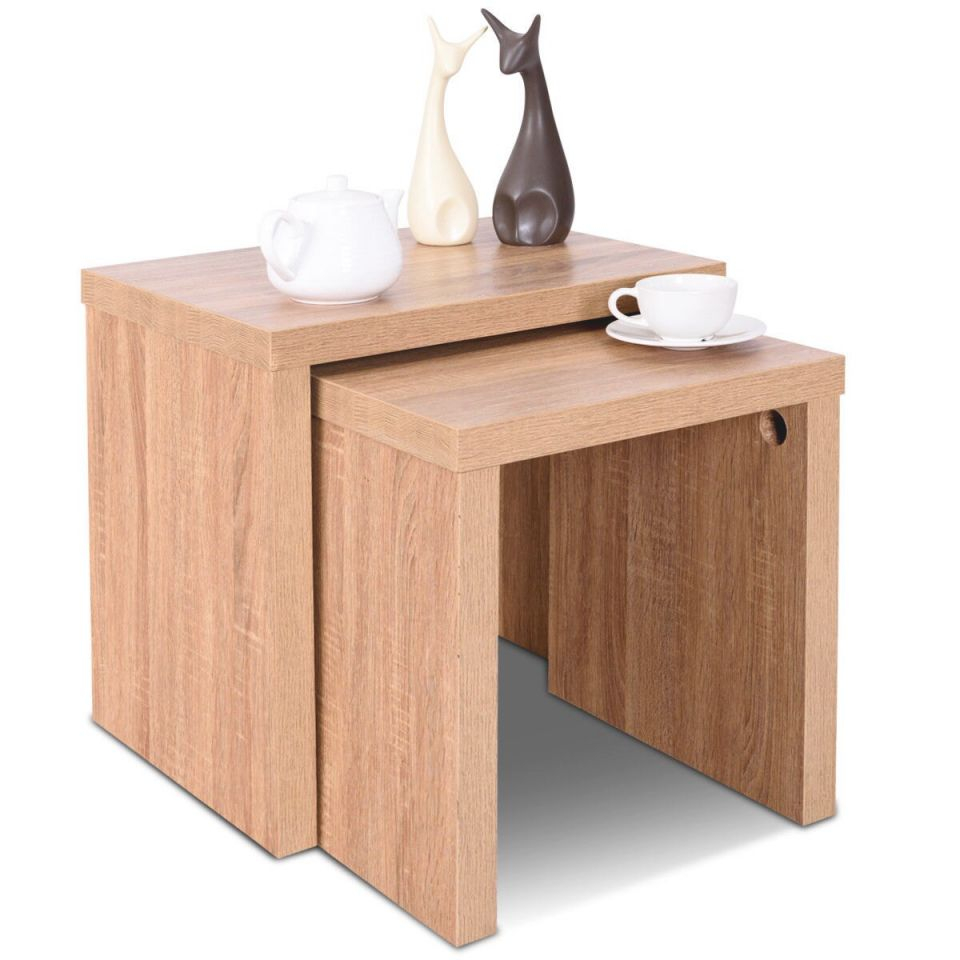 Costway Set Of 2 Nesting Coffee End Table Side Table Wood Color Living Room Furniture throughout Unique Living Room Furniture Tables