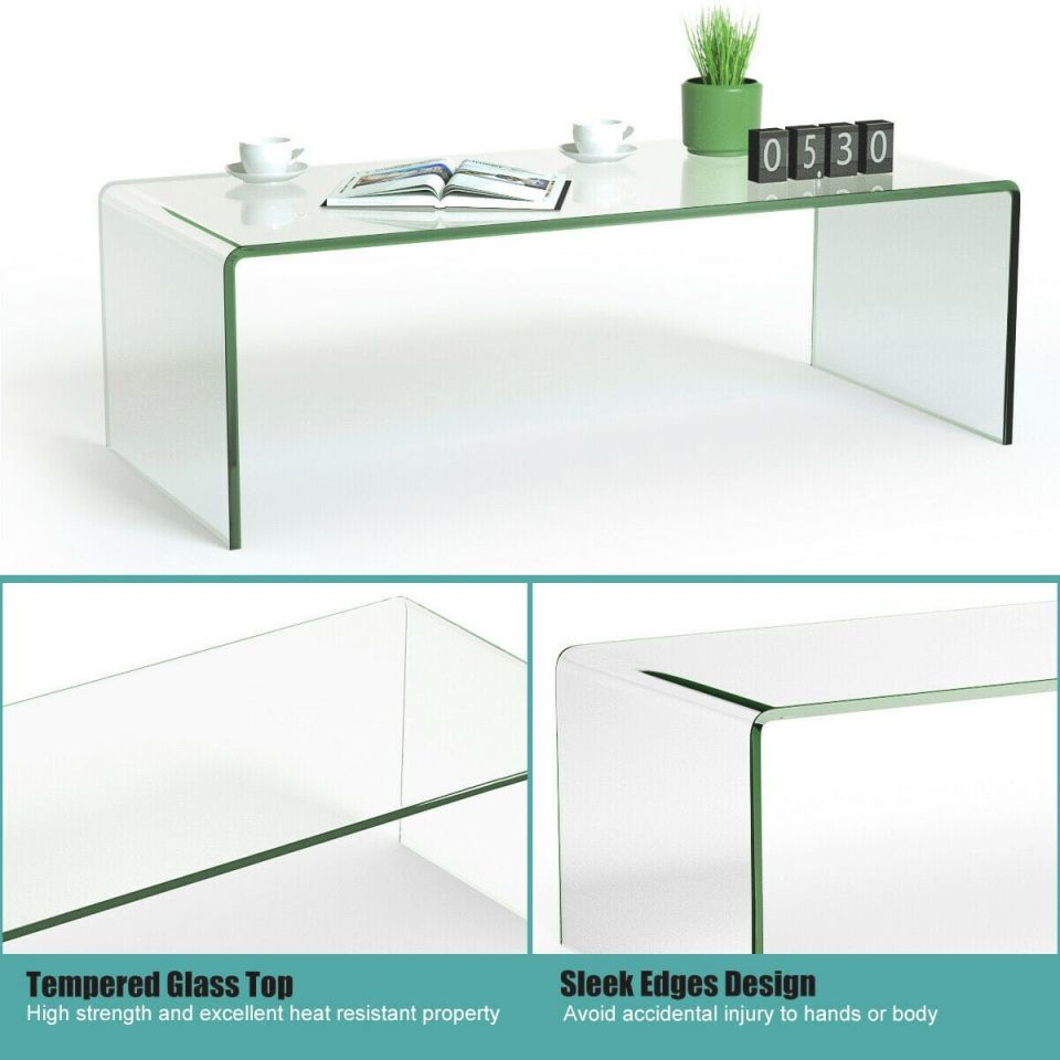 Costway Tempered Glass Coffee Table Accent Cocktail Side Table Living Room Furniture – Clear with Living Room Furniture Tables
