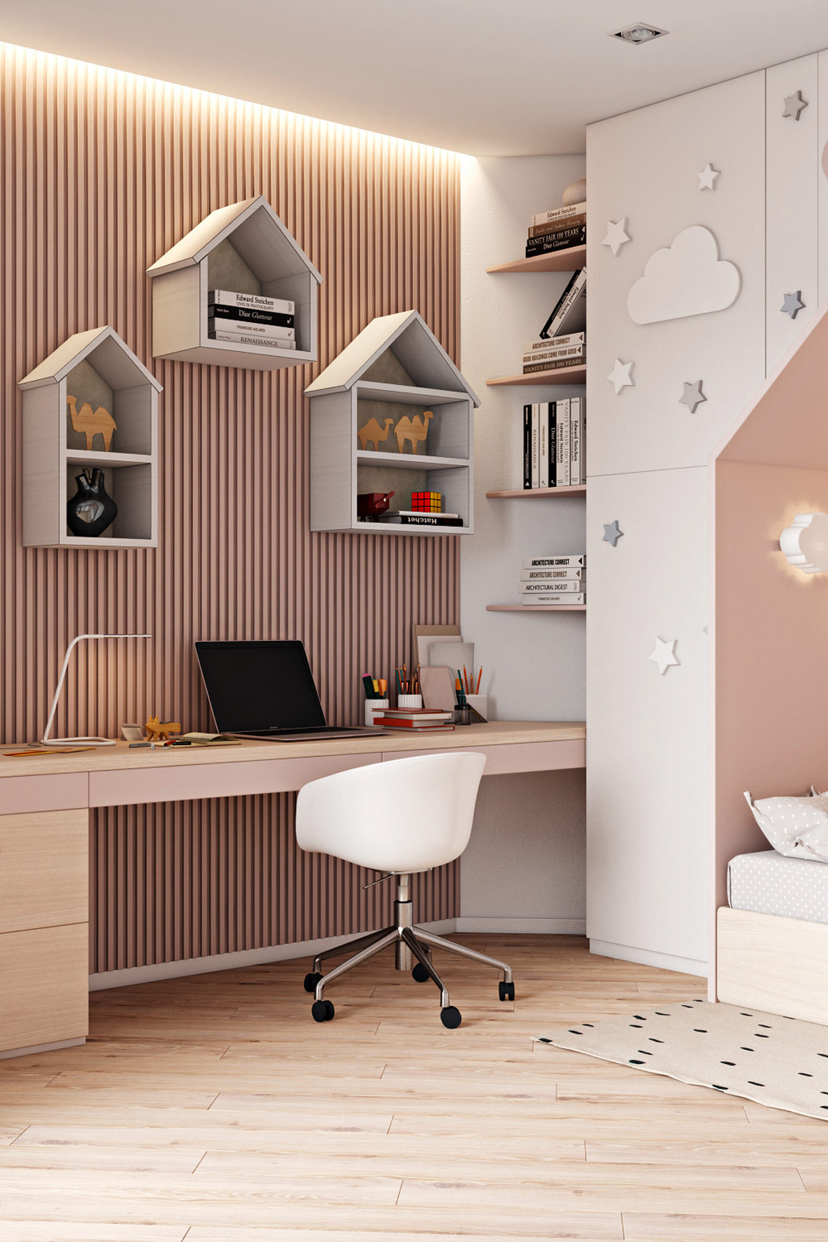 creative-kids-workspace-bedroom-design-with-house-shaped-shelves-and-pink-decor