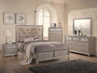Crown Mark B4390 Lila Queen Platform Bedroom Set 6 Pcs In Silver, Vinyl in Bedroom Set Queen Size
