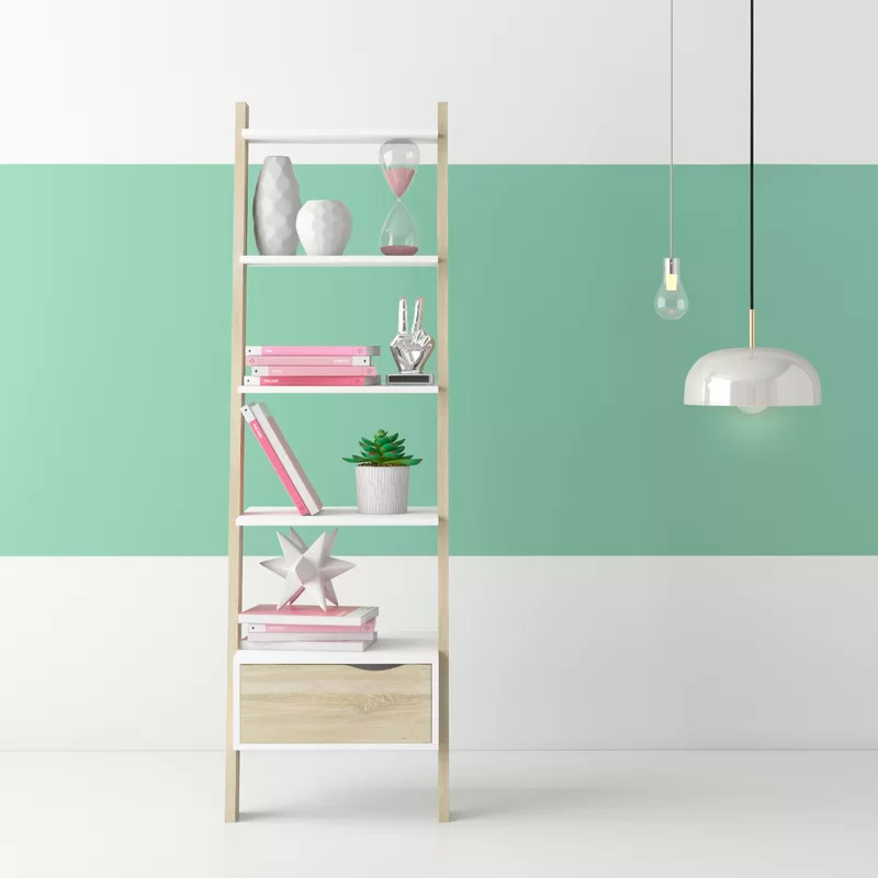cute-ladder-shelf-with-drawer-light-wood-frame-with-white-shelves-for-living-room-bedroom